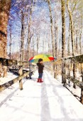 Child Walking on Wood Trail with Snow  — Stock Photo