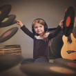 Child Listening to Music Vintage Records — Stock Photo #73133549