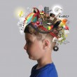 Education Boy with School Subjects on Mind — Stock Photo #73136093