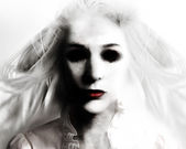 Scary Evil Ghost Woman in White — Stock Photo