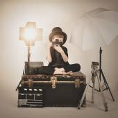 Vinatge Photograph Boy with Old Camera and Lights — Stock Photo