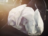 Front Airbag Defalted from Car Accident — Stock Photo