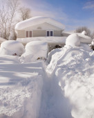 Snow Covered House from Blizzard — Stock Photo