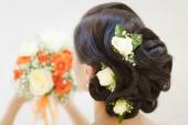 Closeup picture of a bridal hairstyle — Stock Photo