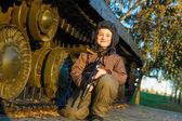 Portrait of young boy with gun — Zdjęcie stockowe