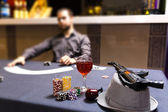 Dealer spreading the deck at poker game — Stock Photo