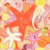 Starfish  background in crustacean — Stock Vector