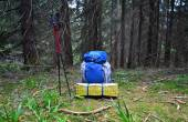 Backpack in the  outdoor forest — Stockfoto