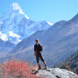 Man hiking on a stone   view in the himalayas,   Ama Dablam ,Nep — Stock Photo #60584415
