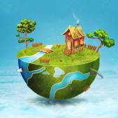 Small house,river  and trees on half of the globe. — Stock Photo