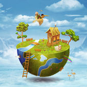 Small planet on half of the globe with boy in sky — Stock Photo