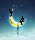 Man and Woman on Moon background, illustration — Stock fotografie