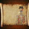 Halloween background scroll sign with a skeleton  in the banner  — Stock Photo #64917301