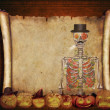 Halloween background scroll sign with a skeleton  in the banner — Stock Photo #64920905