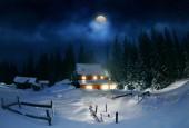 Drewniany dom w lesie, zimą — Zdjęcie stockowe