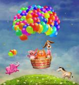 Animals in a balloon in the sky — Stock Photo