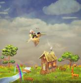 A boy with a pelican in the sky ,small cute  village — Stock Photo