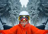 Portrait of woman in Carpathian Mountains, Bukovel — Stock Photo