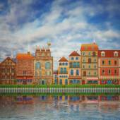 Illustration of a cute city on the river — Stock Photo