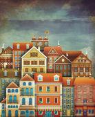 Illustrazione delle case sveglie nel cielo — Foto Stock