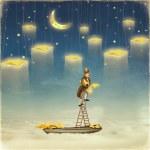 Человек, достигая звезды в верхней части высоту лестницы — Стоковое фото #74296159
