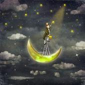Man draws  stars  at top of tall ladder in dark sky — Stock Photo