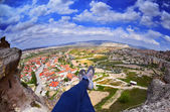 Woman  laying after mountain hiking,Cappadocia,Turkey — Stock Photo