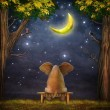 Illustration of a elephant on a bench in the night forest — Stock Photo #79726812
