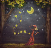 Illustration showing the wizard collecting stars in a forest — Stock Photo