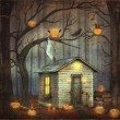 Old House  in a fairytale forest among trees and scary halloween — Stock Photo #81383104