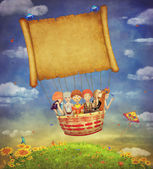 Happy children with a banner in the sky -illustration art — Stock Photo