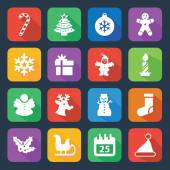 Christmas icons set in flat style - Illustration — Stock Vector