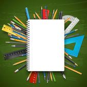 O bloco de notas e canetas — Vetor de Stock
