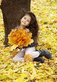 Cute girl with dark curly hair sitting in the autumn forest with a bouquet of leaves — Stock Photo
