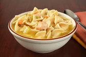 Bowl of chicken noodle soup — Stock Photo