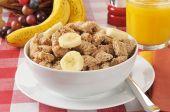 Shredded organic wheat breakfast cereal — Stock Photo