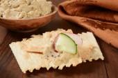 Flatbread crackers and hummus — Stock Photo