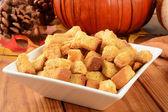 Pumpkin cornbread croutons — Stock Photo