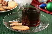 Christmas snacks with coffee — Stock Photo