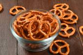 Bowl of salted pretzels — Stock Photo