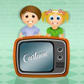 Children watch cartoons — Stock Photo