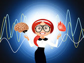 Woman with brain and heart — Stock Photo