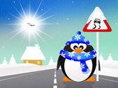 Pinguïn met glad verkeersbord — Stockfoto
