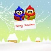 Uilen met kerstmis — Stockfoto