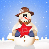 Snowman in winter landscape — Stock Photo