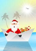 Santa Claus on boat — Stock Photo
