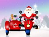 Santa Claus on sidecar — Zdjęcie stockowe