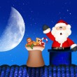 Santa Claus on roof — Stock Photo #58058677