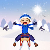 Child on sleigh — Stock Photo