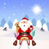 Santa Claus on sleigh — Stock Photo